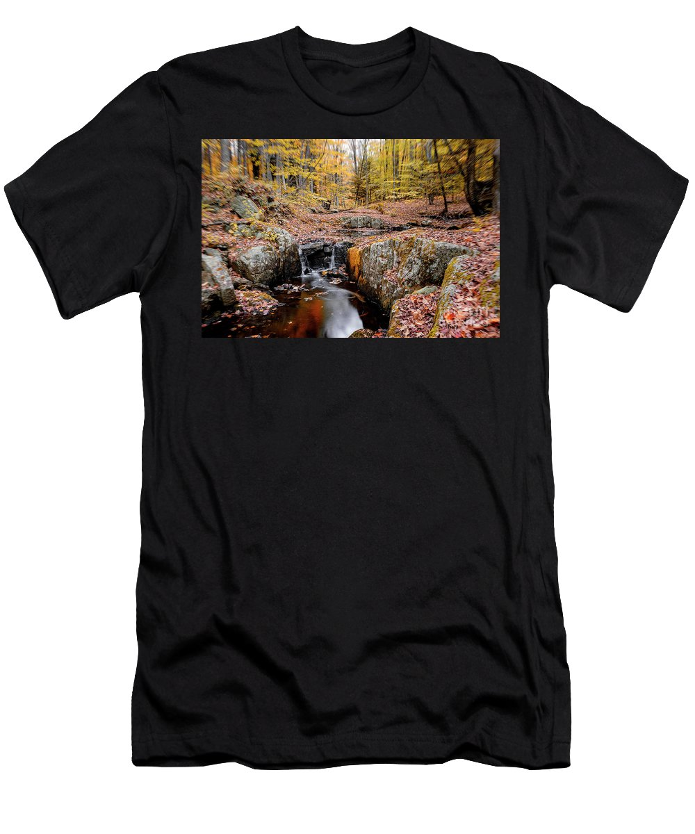 Leaves Men's T-Shirt (Athletic Fit) featuring the photograph Autumn Flow by Grant Dupill