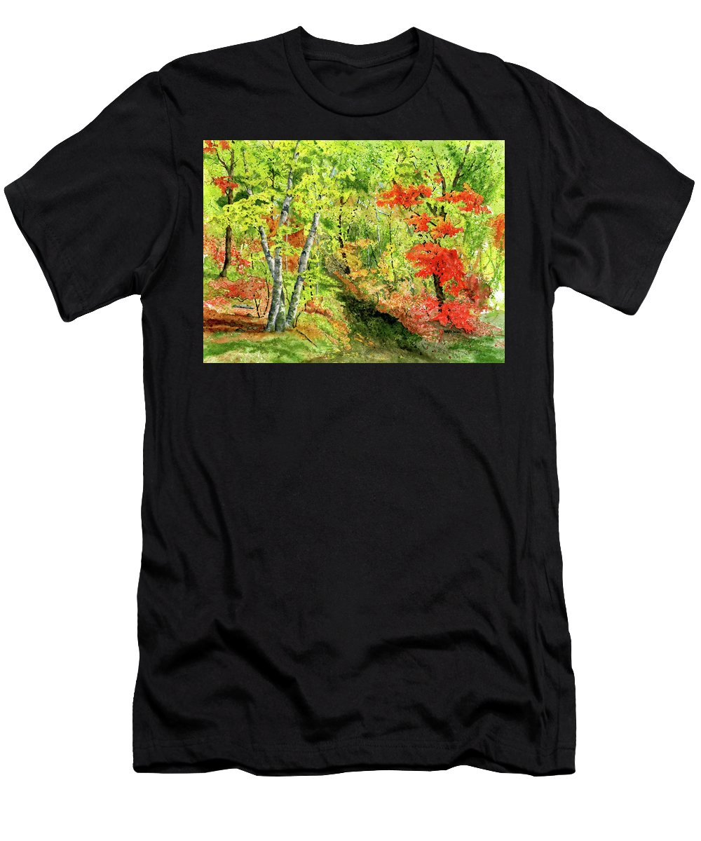 Autumn Men's T-Shirt (Athletic Fit) featuring the painting Autumn Fun by Mary Tuomi