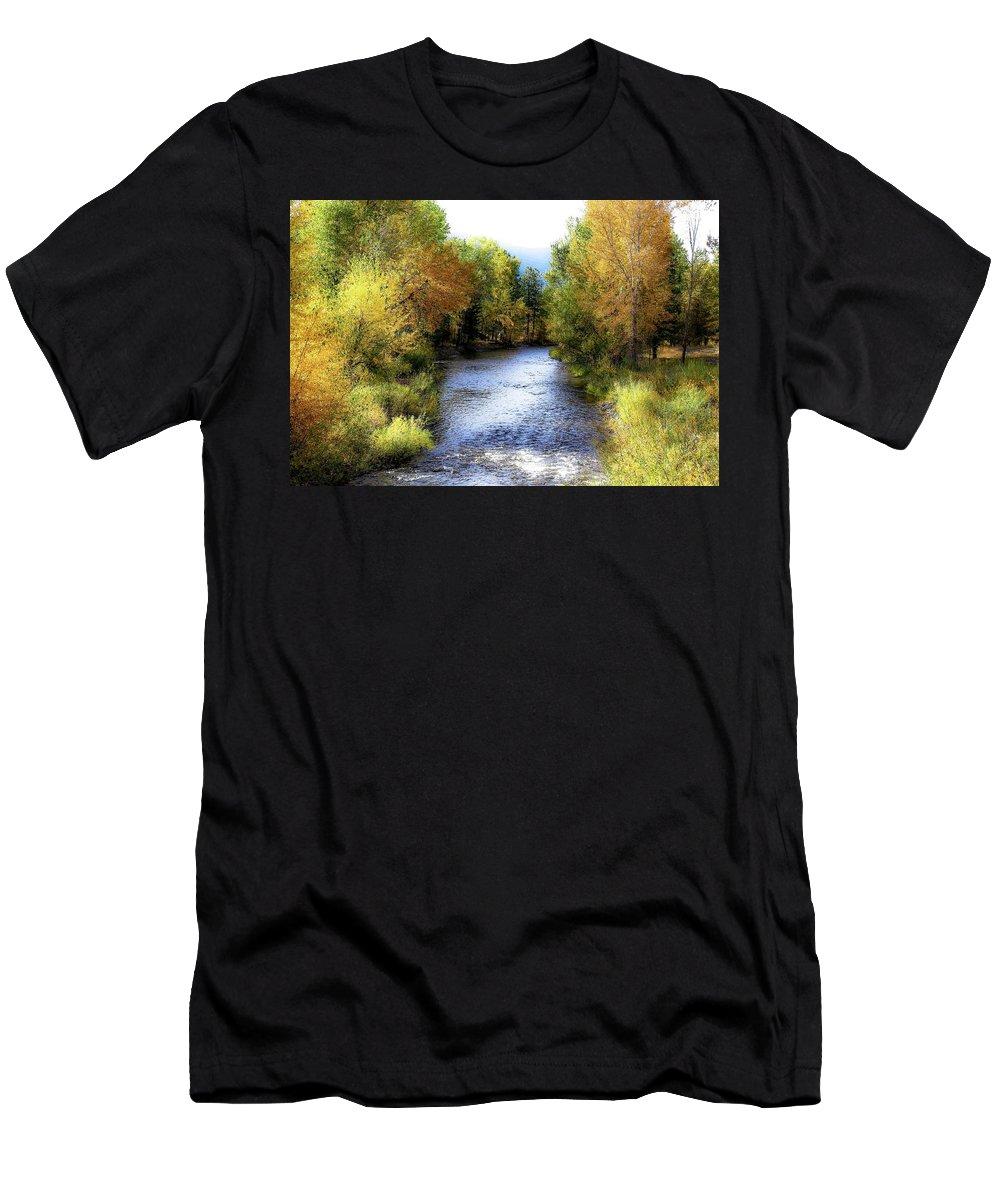 Autumn Men's T-Shirt (Athletic Fit) featuring the photograph Autumn Harvest Along The River by Athena Mckinzie