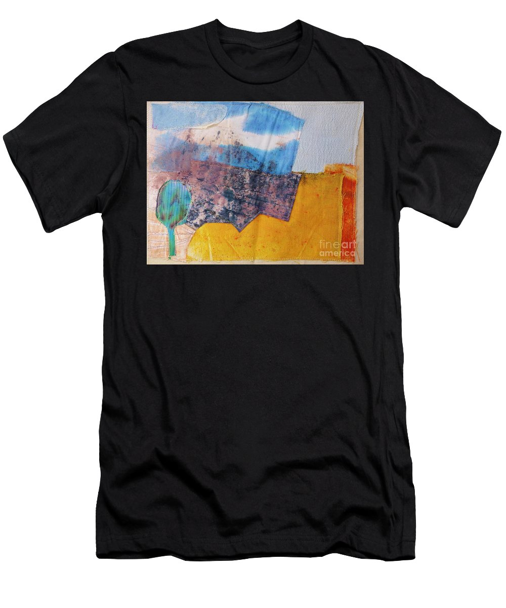 Autumn Harvest Fields - Wall Hanging - Contemporary Art - Stitched Landscape - Modern Embroidery - Original Textile Art - Elizabethafox Men's T-Shirt (Athletic Fit) featuring the tapestry - textile Autumn Harvest Fields by Elizabetha Fox