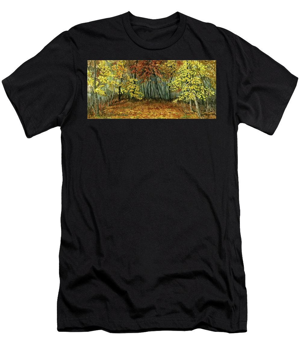 Autumn Men's T-Shirt (Athletic Fit) featuring the painting Autumn Hollow by Mary Tuomi