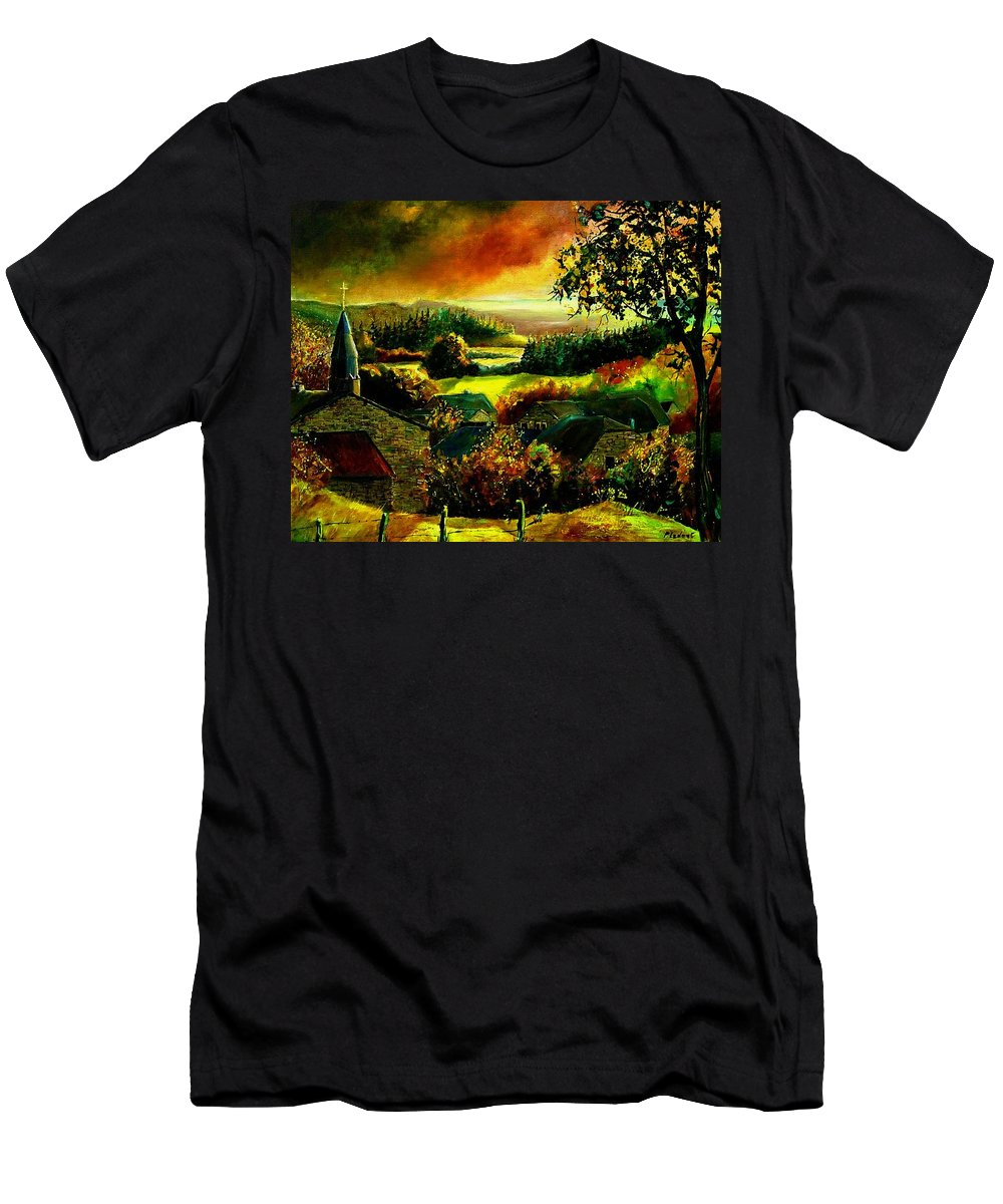 Landscape Men's T-Shirt (Athletic Fit) featuring the painting Autumn In Our Village Ardennes by Pol Ledent