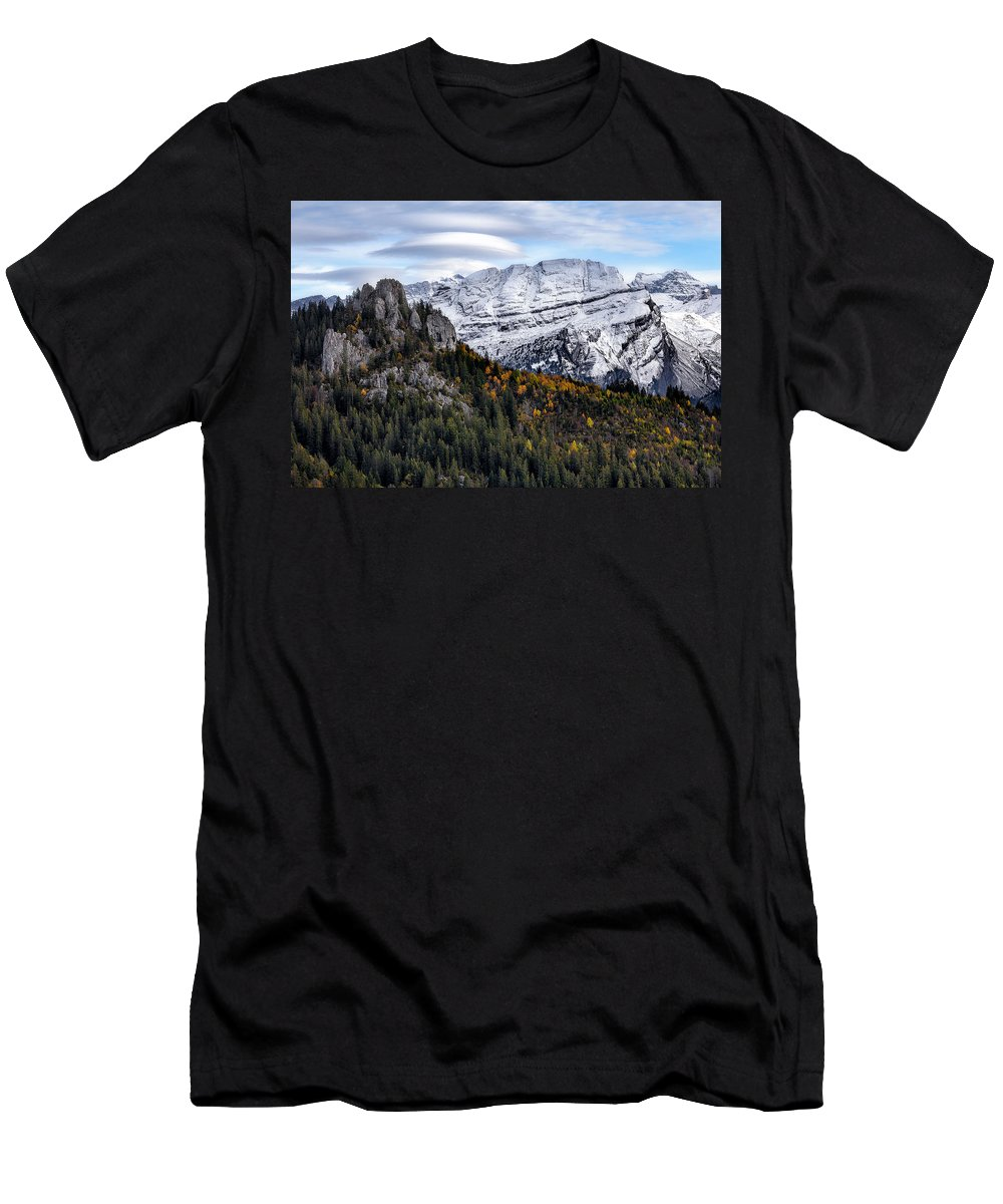 Mountians Men's T-Shirt (Athletic Fit) featuring the photograph Autumn In Switzerland by Nedjat Nuhi