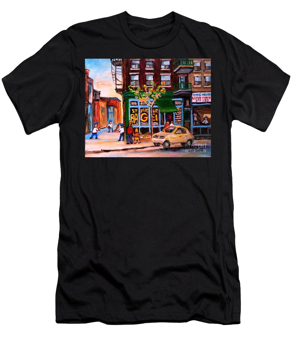St.viateur Bagel Men's T-Shirt (Athletic Fit) featuring the painting Autumn In The City by Carole Spandau
