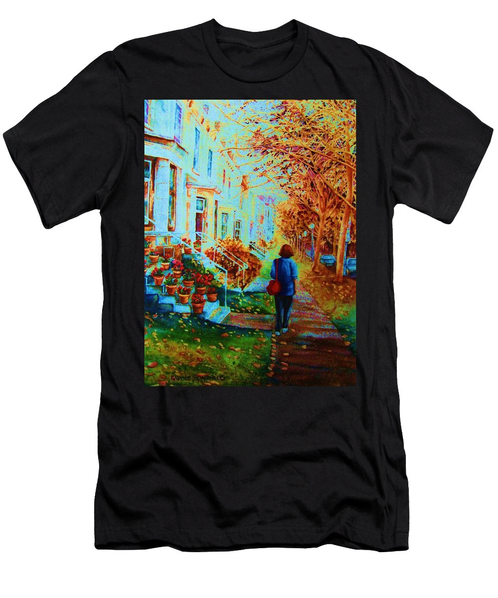 Montreal Men's T-Shirt (Athletic Fit) featuring the painting Autumn In Westmount by Carole Spandau