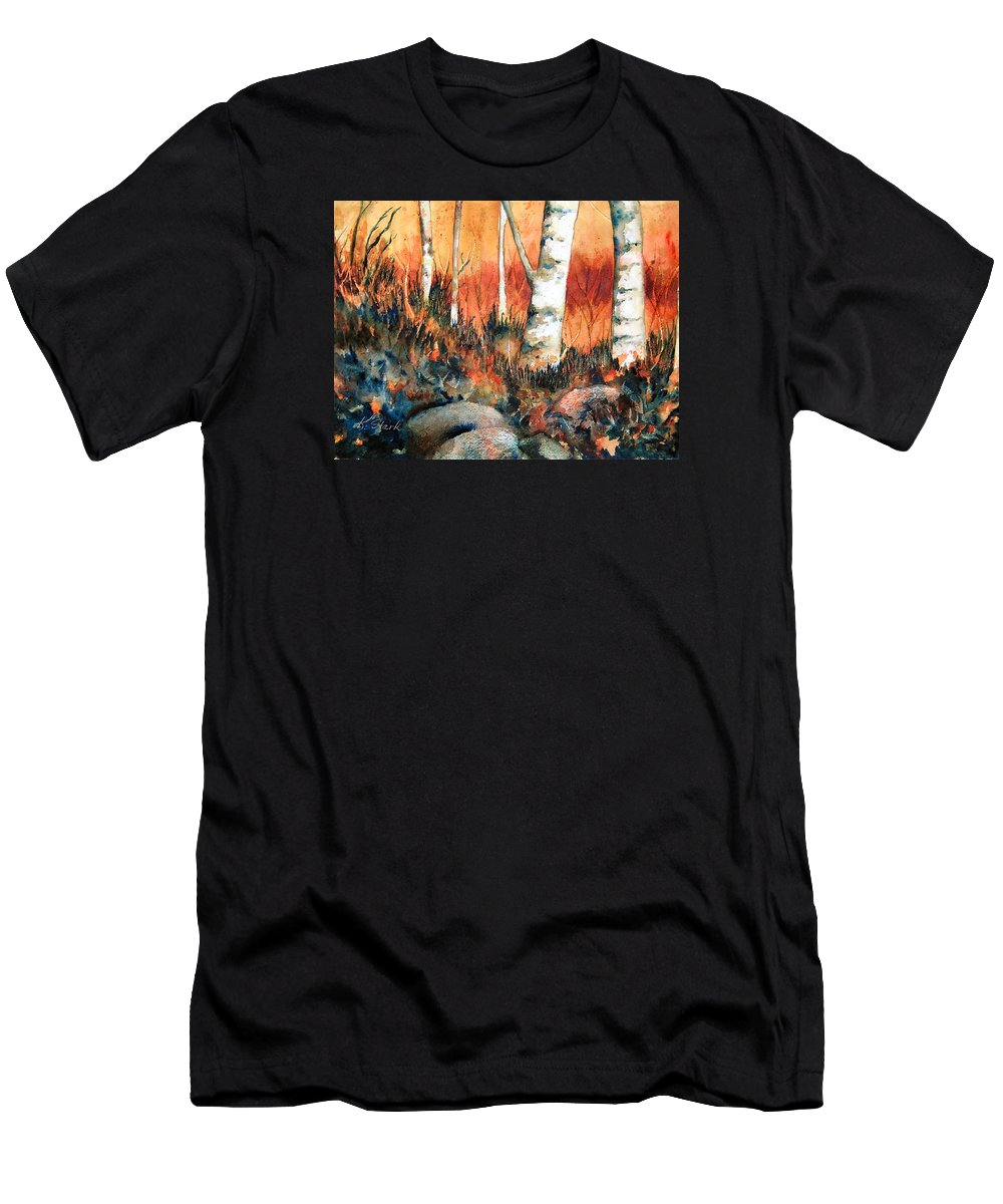 Landscape Men's T-Shirt (Athletic Fit) featuring the painting Autumn by Karen Stark
