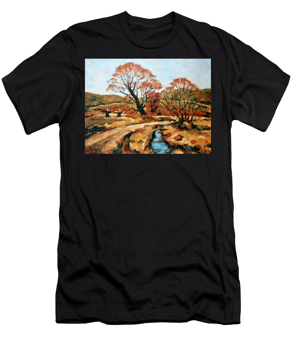 Landscape Men's T-Shirt (Athletic Fit) featuring the painting Autumn Landscape by Iliyan Bozhanov