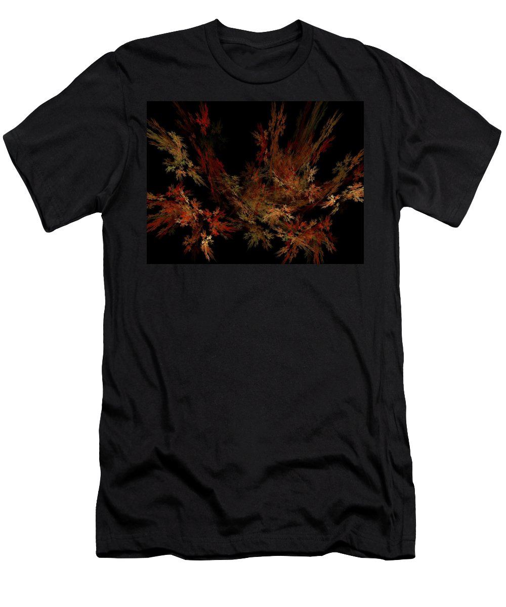 Abstract Digital Painting Men's T-Shirt (Athletic Fit) featuring the digital art Autumn Leaf Dance by David Lane