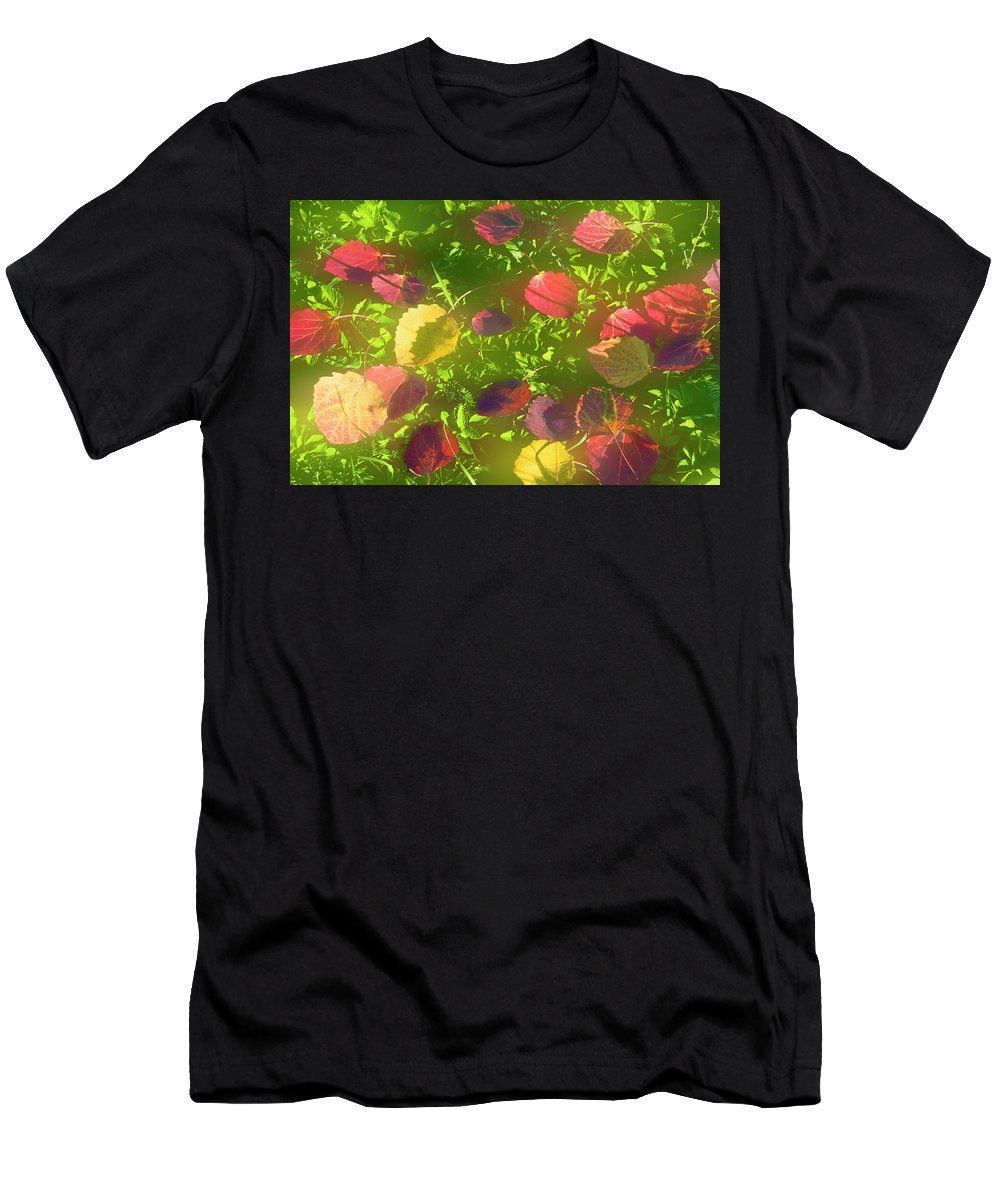 Leaves Men's T-Shirt (Athletic Fit) featuring the photograph Autumn Leaves by larisa Fedotova