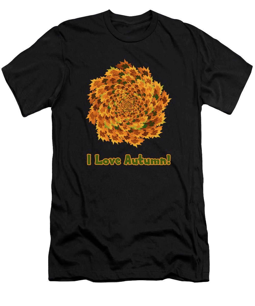 Autumn Leaves Pattern Men's T-Shirt (Athletic Fit) featuring the digital art Autumn Leaves Pattern by Methune Hively