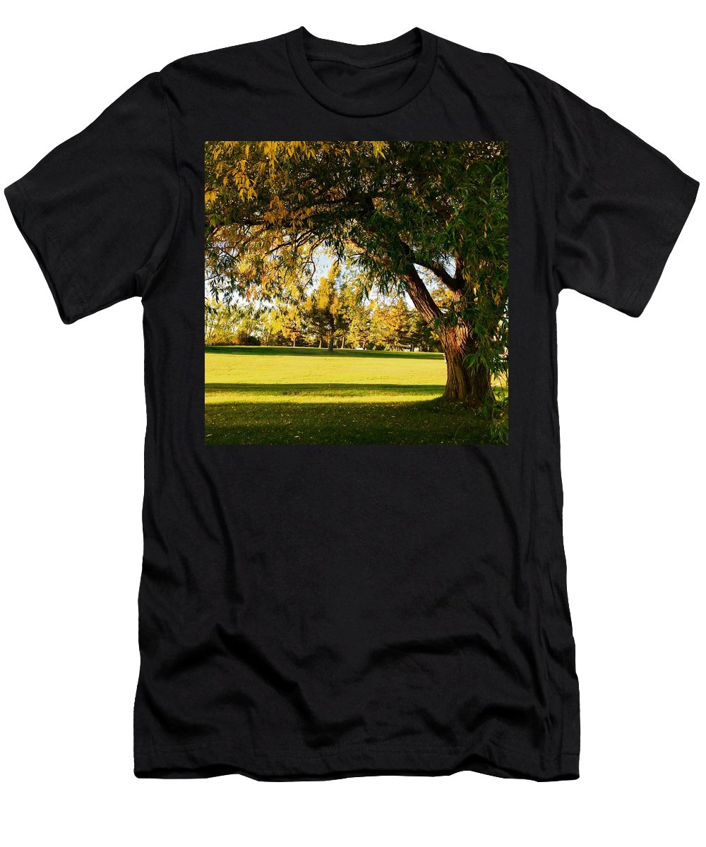 Autumn Men's T-Shirt (Athletic Fit) featuring the photograph Autumn Light by Cristina Stefan