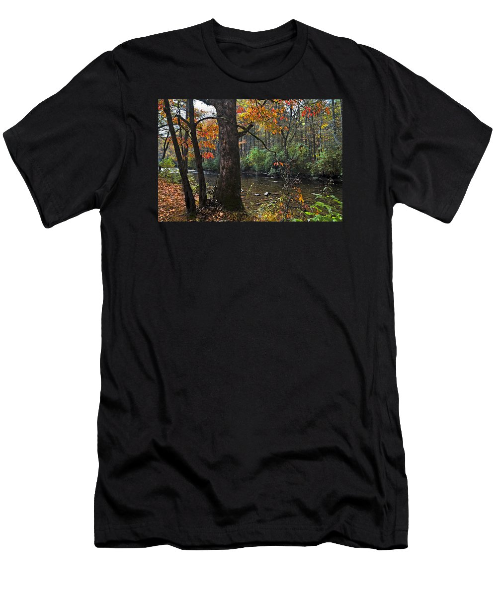 Appalachia Men's T-Shirt (Athletic Fit) featuring the photograph Autumn Mountains by Debra and Dave Vanderlaan