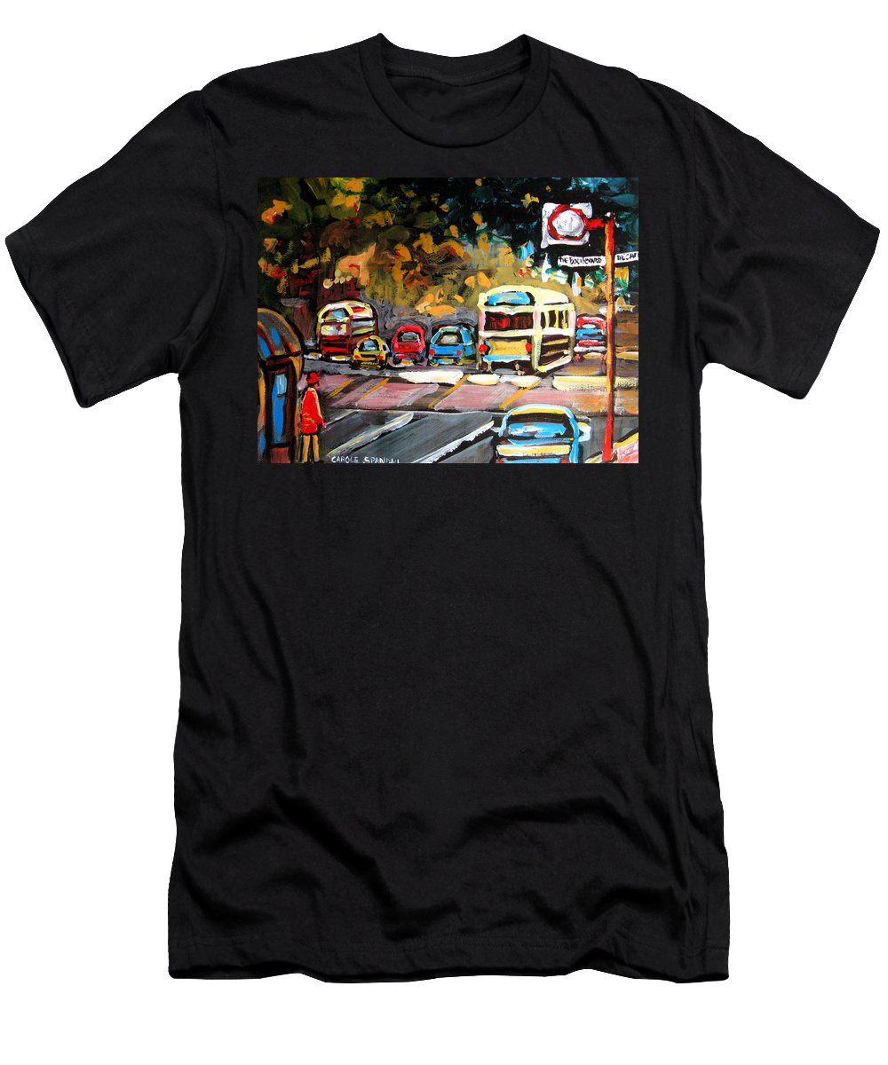 Montreal Men's T-Shirt (Athletic Fit) featuring the painting Autumn On The Boulevard by Carole Spandau