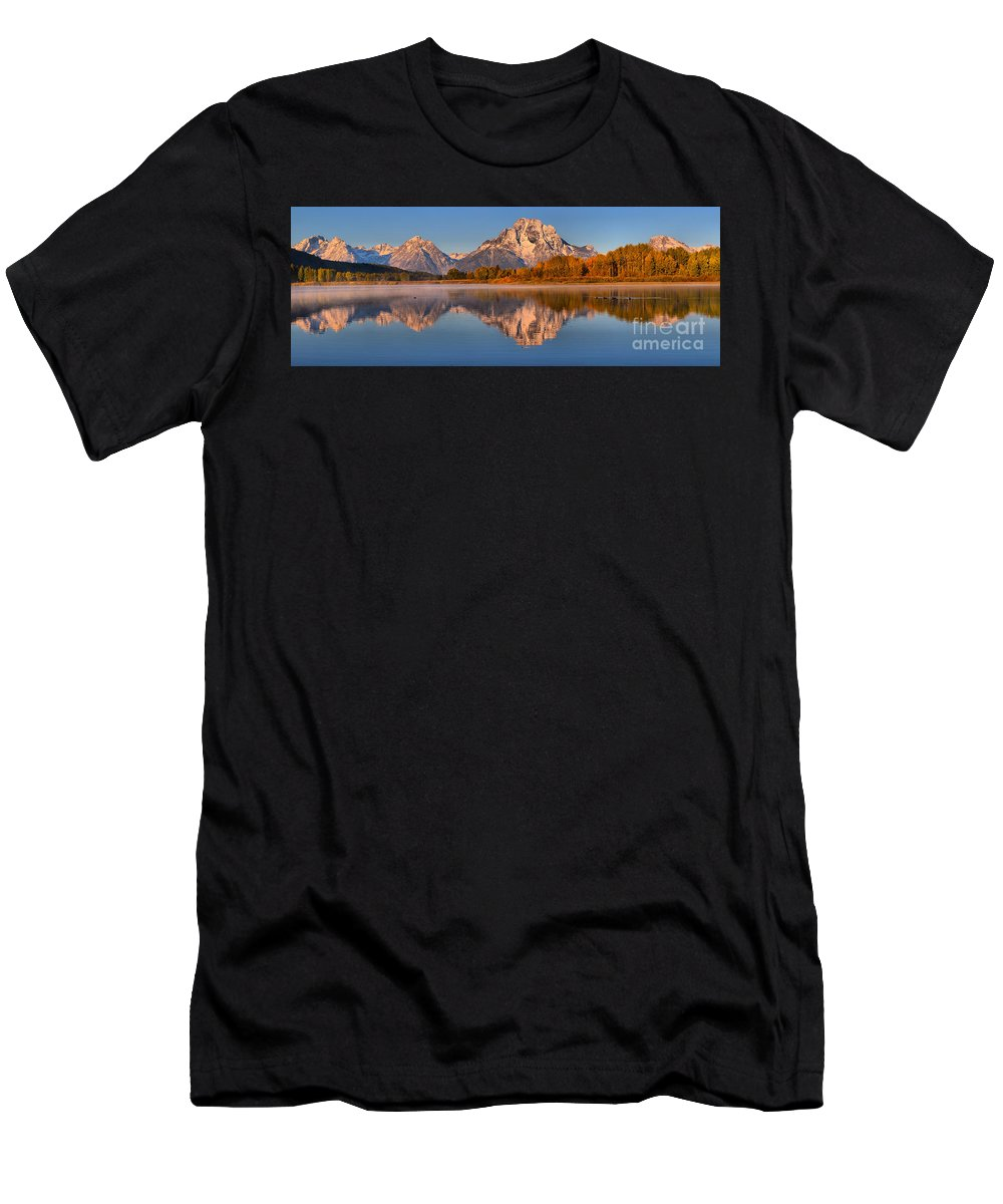 Grand Teton National Park Men's T-Shirt (Athletic Fit) featuring the photograph Autumn Oxbow Bend Reflections by Adam Jewell