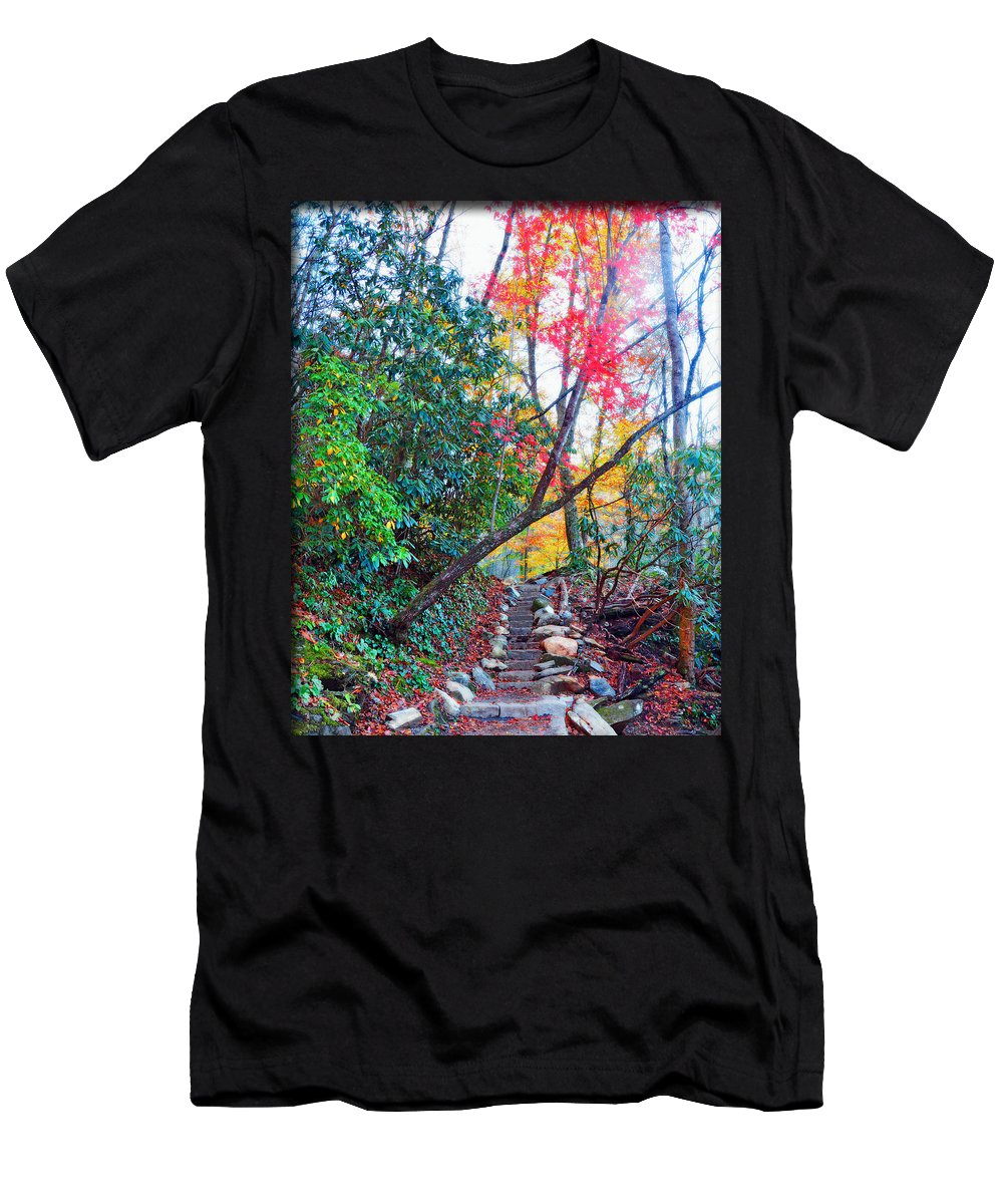Smokey Mountain Men's T-Shirt (Athletic Fit) featuring the photograph Autumn Pathway by Brittany Horton