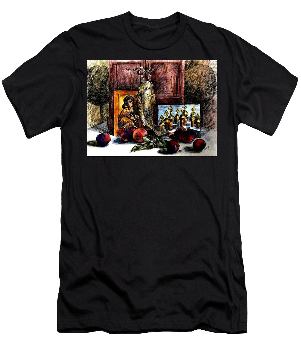 Madonna Men's T-Shirt (Athletic Fit) featuring the painting Autumn Prayer by Inga Vereshchagina
