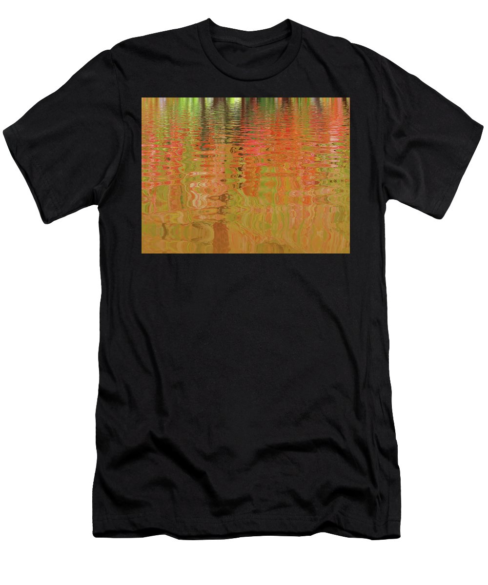 Autumn Colors Men's T-Shirt (Athletic Fit) featuring the photograph Autumn Reflections Abstract by Gill Billington
