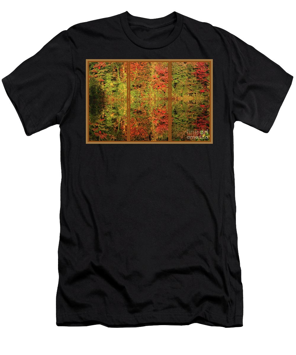 Autumn Men's T-Shirt (Athletic Fit) featuring the photograph Autumn Reflections In A Window by Smilin Eyes Treasures