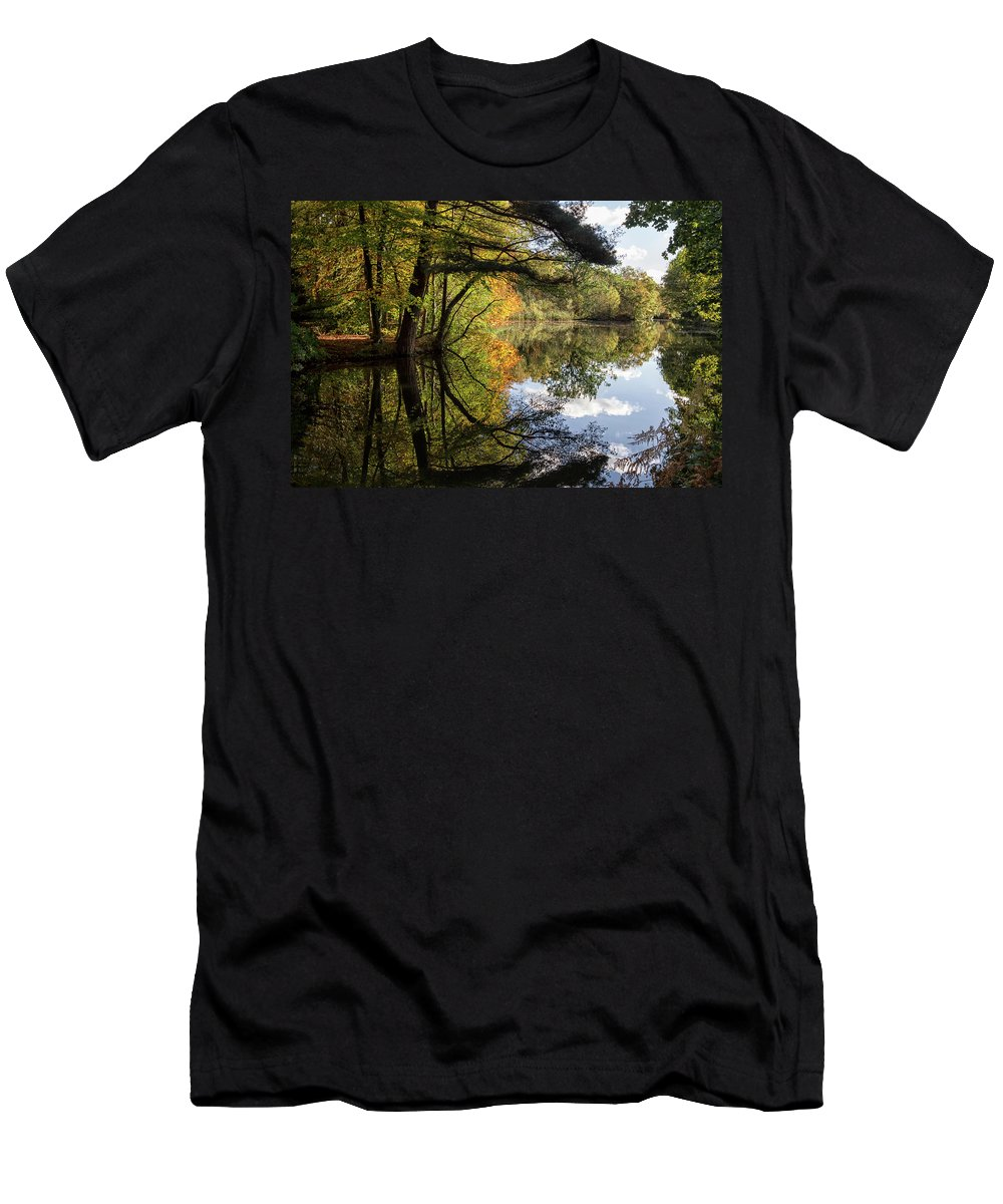 Autumn Men's T-Shirt (Athletic Fit) featuring the photograph Autumn Reflections by Shirley Mitchell