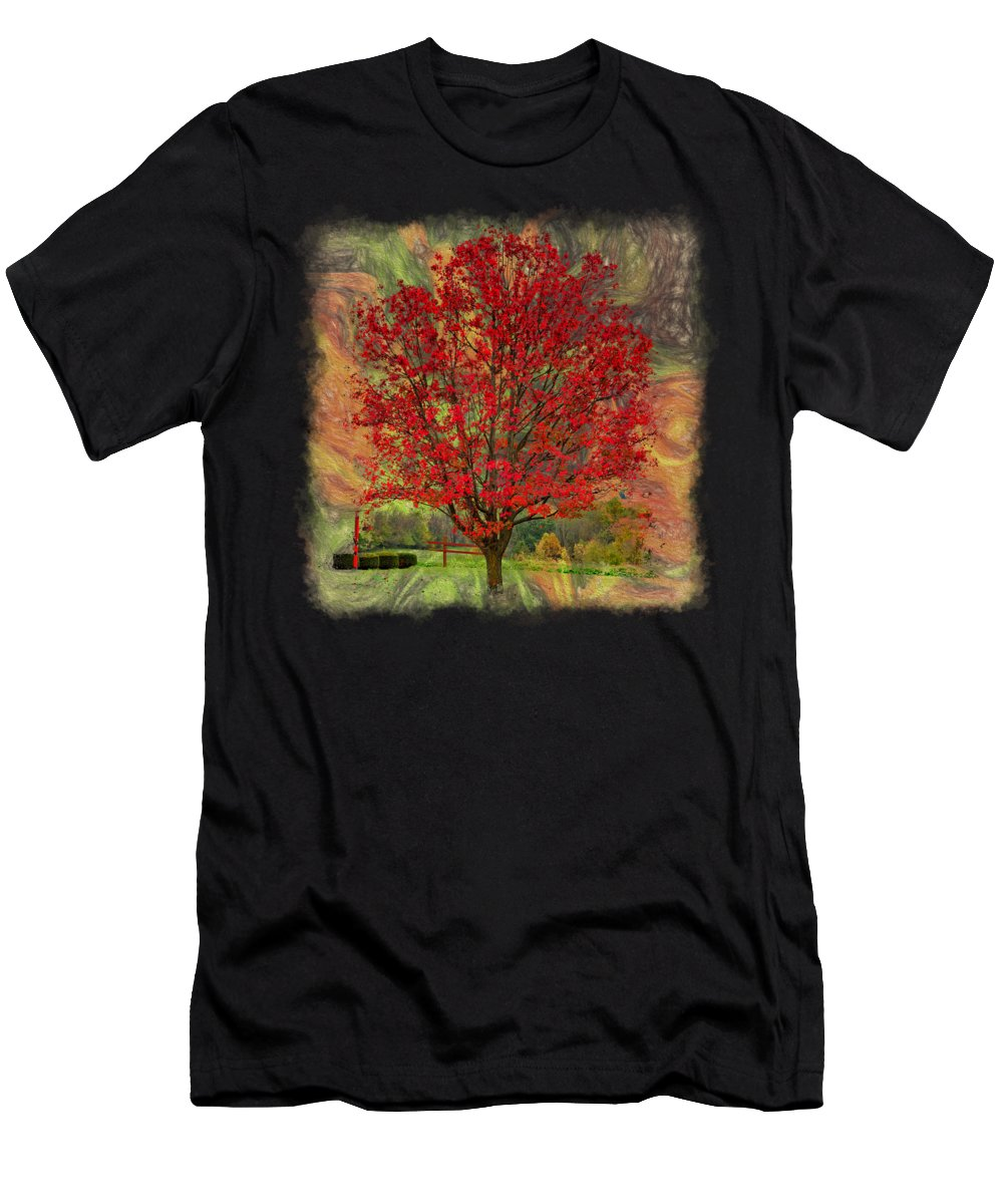 Sky Men's T-Shirt (Athletic Fit) featuring the photograph Autumn Scenic 2 by John M Bailey