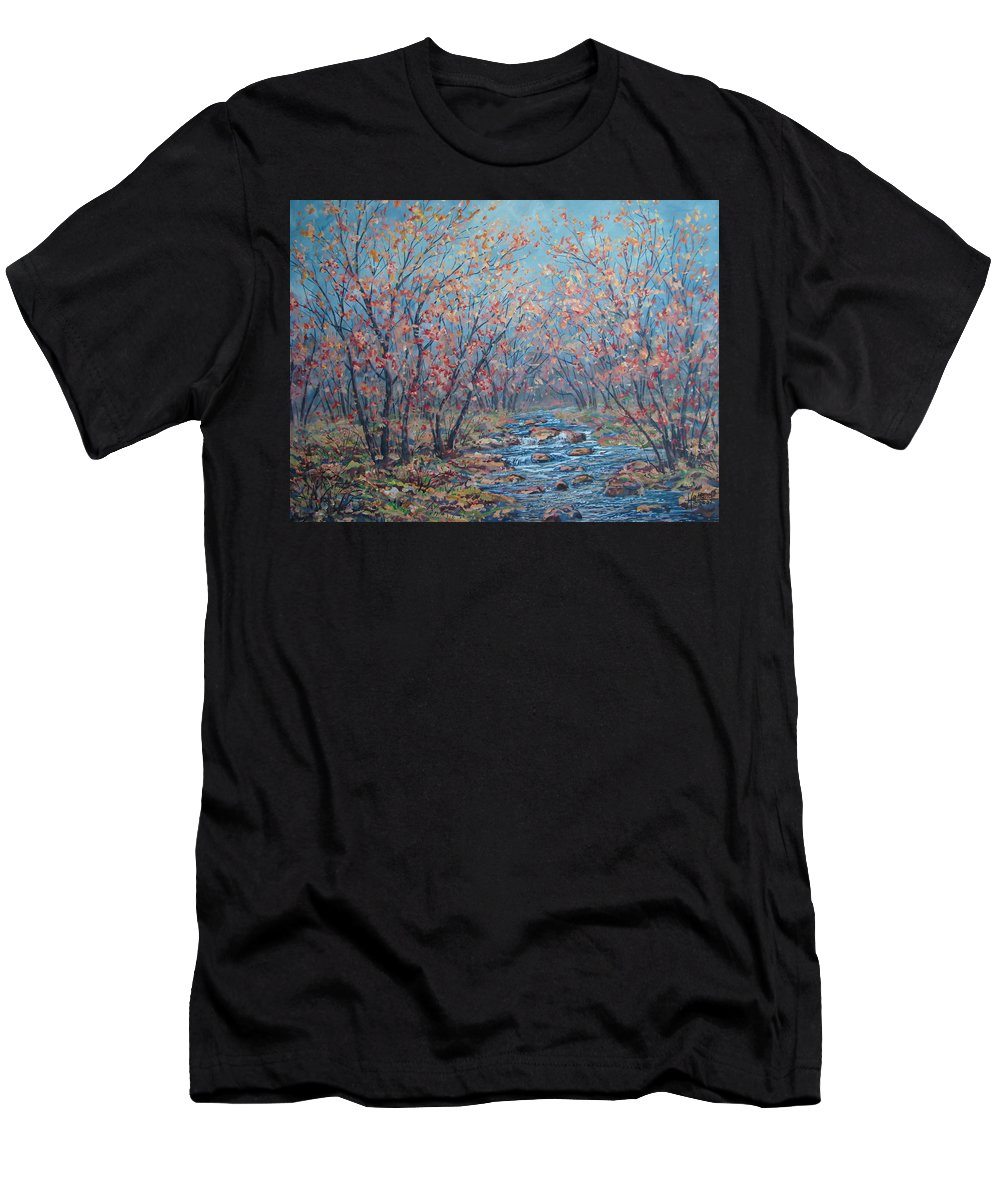 Landscape Men's T-Shirt (Athletic Fit) featuring the painting Autumn Serenity by Leonard Holland