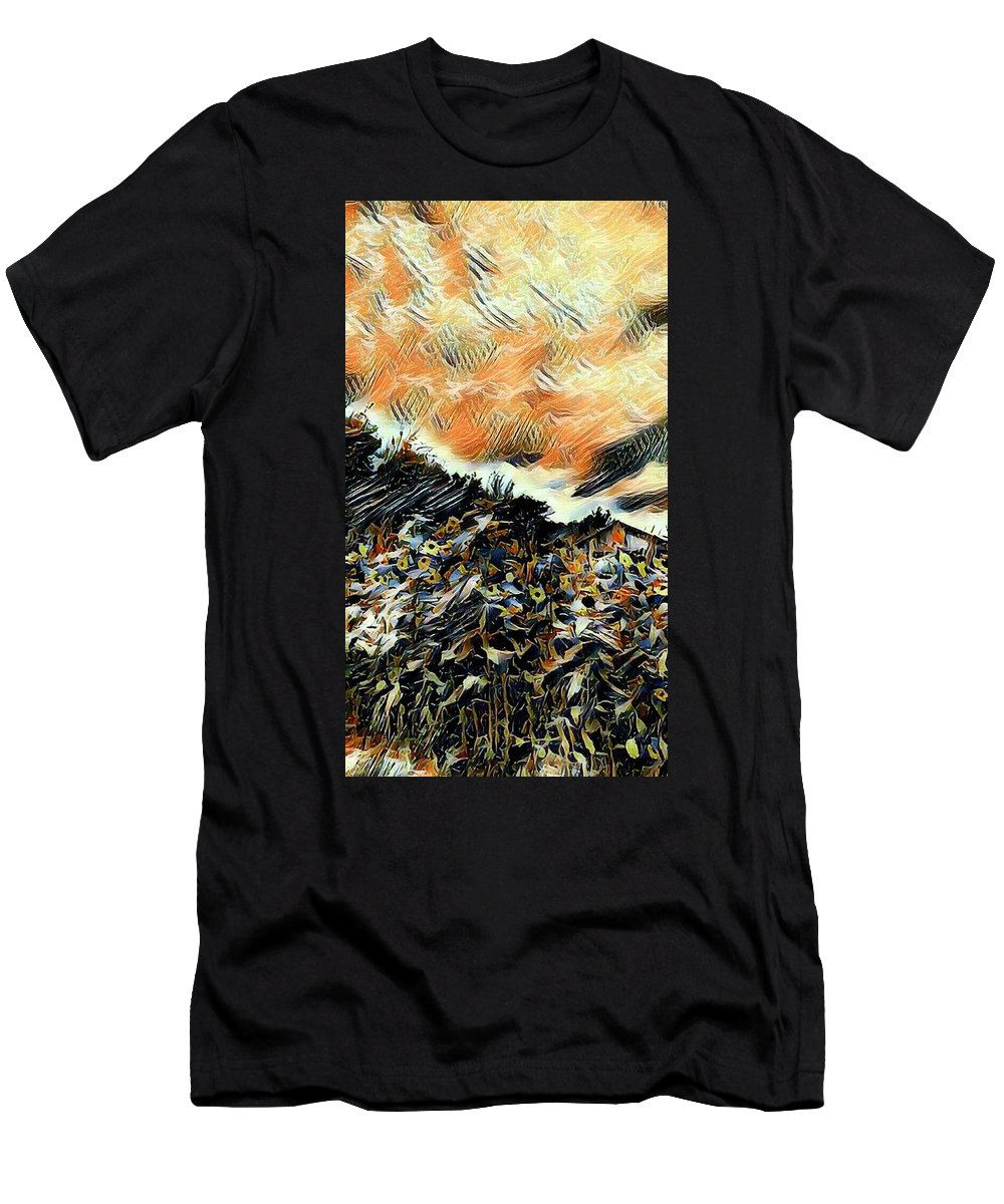 Flowers Men's T-Shirt (Athletic Fit) featuring the painting Autumn Skies by Ally White