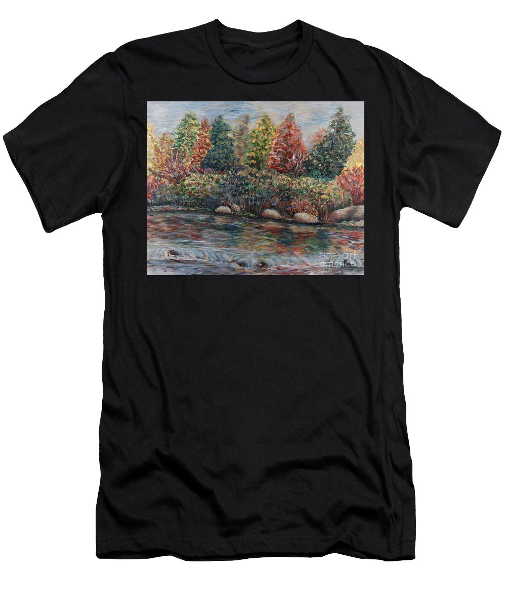 Autumn Men's T-Shirt (Athletic Fit) featuring the painting Autumn Stream by Nadine Rippelmeyer