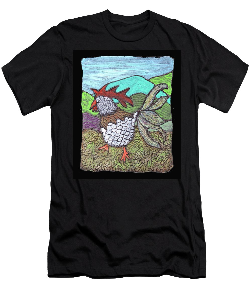 Chicken Men's T-Shirt (Athletic Fit) featuring the painting Autumn Strut by Wayne Potrafka