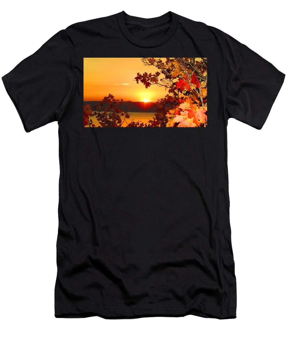 Sunrise Men's T-Shirt (Athletic Fit) featuring the photograph Autumn Sunrise by Carol Dyer
