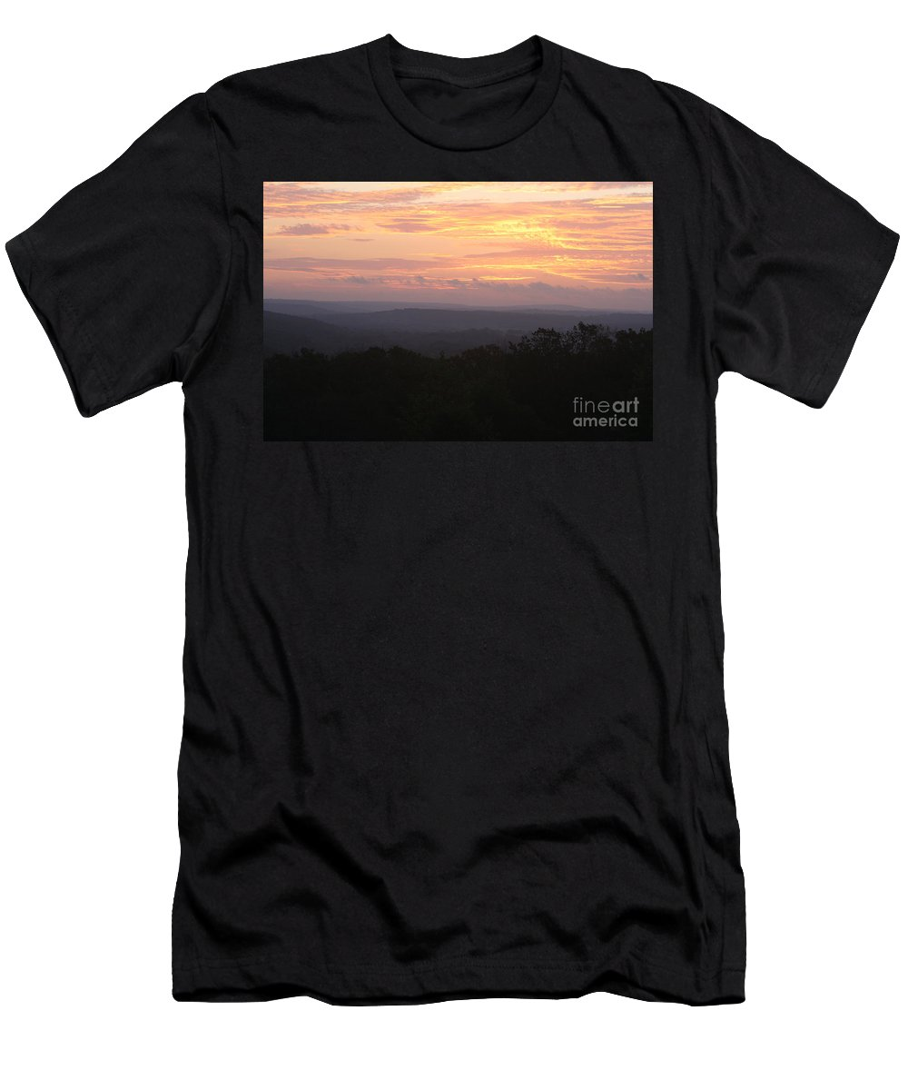 Sunrise Men's T-Shirt (Athletic Fit) featuring the photograph Autumn Sunrise Over The Ozarks by Nadine Rippelmeyer