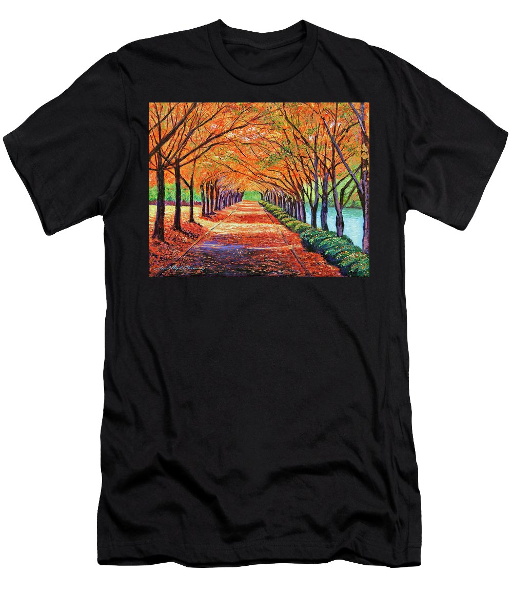 Autumn Men's T-Shirt (Athletic Fit) featuring the painting Autumn Tree Lane by David Lloyd Glover