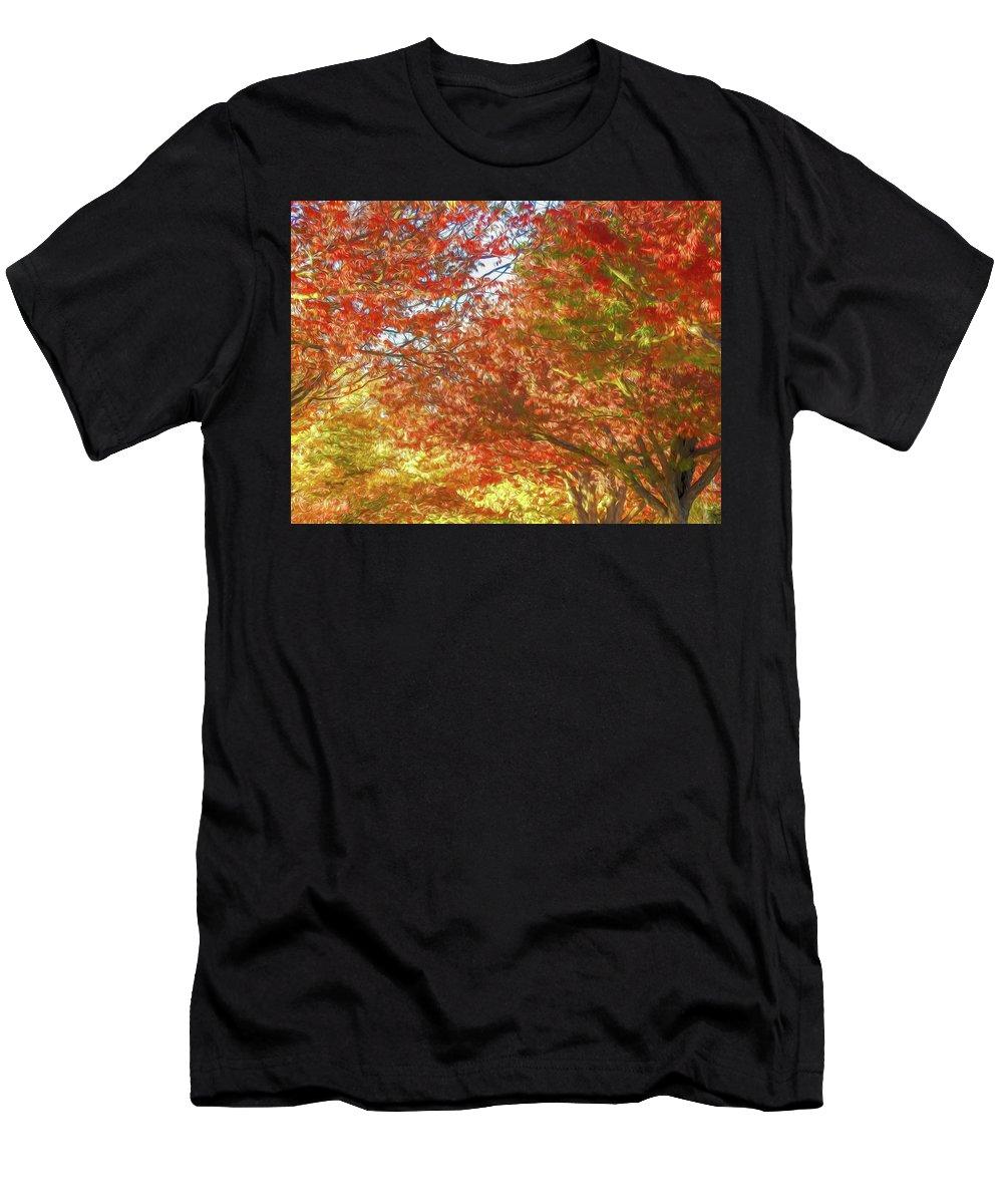 California Men's T-Shirt (Athletic Fit) featuring the digital art Autumn Trees Digital Watercolor by Randy Herring