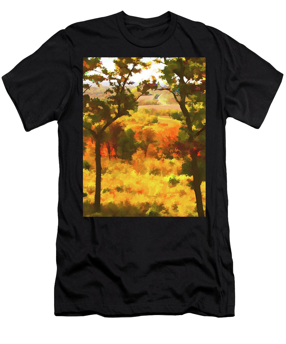 Impressionistic Men's T-Shirt (Athletic Fit) featuring the photograph Autumn View, Montelle Winery, Augusta, Missouri by Lila Bahl