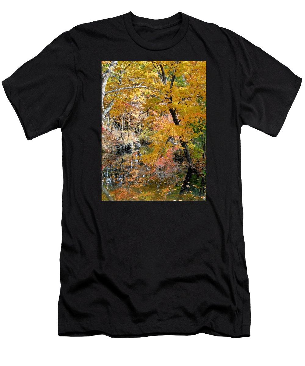 Autumn Vintage Landscape Men's T-Shirt (Athletic Fit) featuring the painting Autumn Vintage Landscape 6 by Jeelan Clark