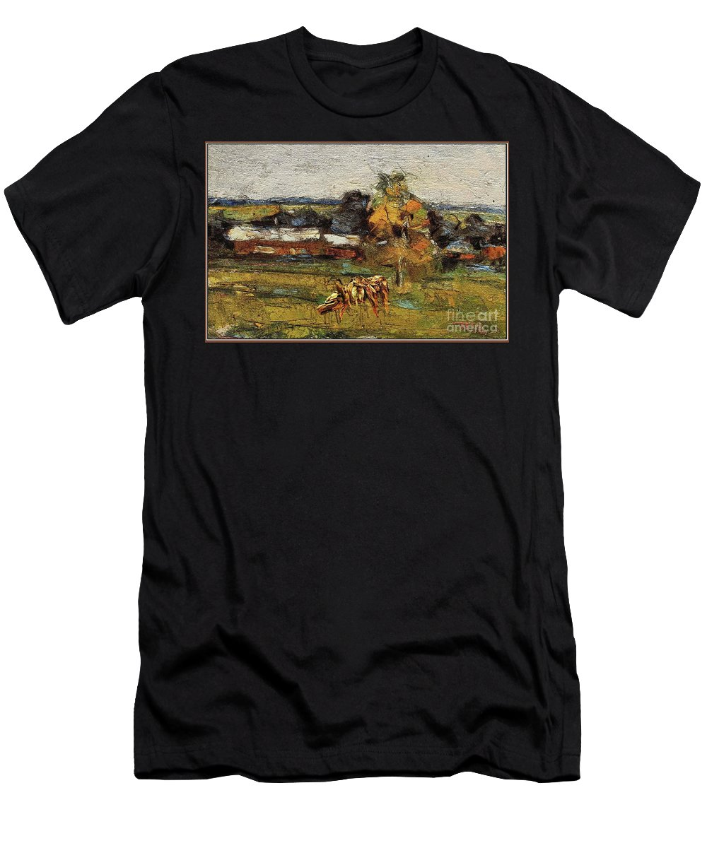 Modern Painting Men's T-Shirt (Athletic Fit) featuring the mixed media Autumn Walk 2 by Pemaro