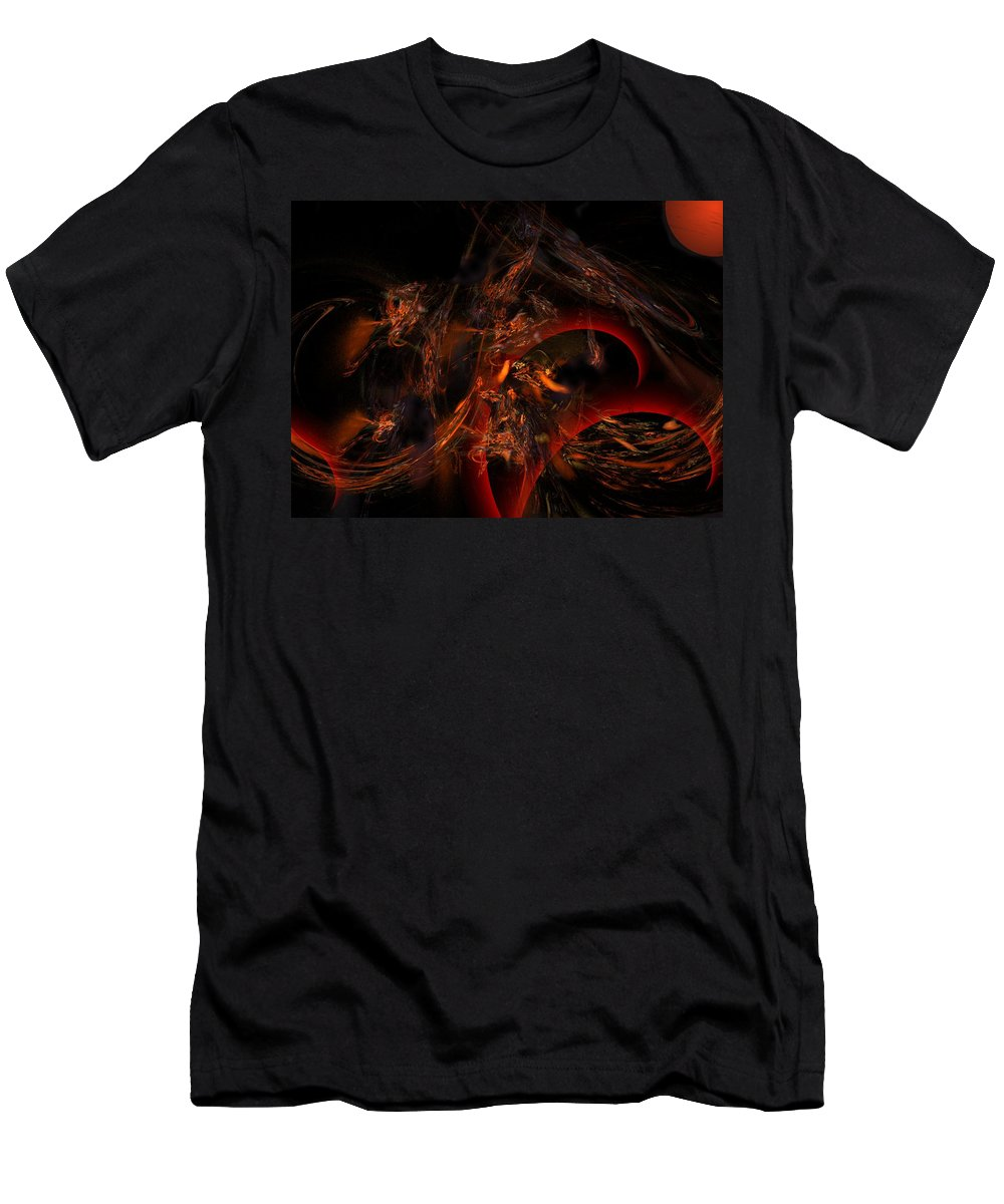 Abstract Digital Painting Men's T-Shirt (Athletic Fit) featuring the digital art Autums Winds 2 by David Lane