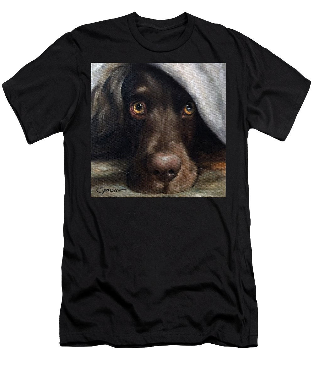 Boykin Spaniel Men's T-Shirt (Athletic Fit) featuring the painting Avery Under Cover by Mary Sparrow