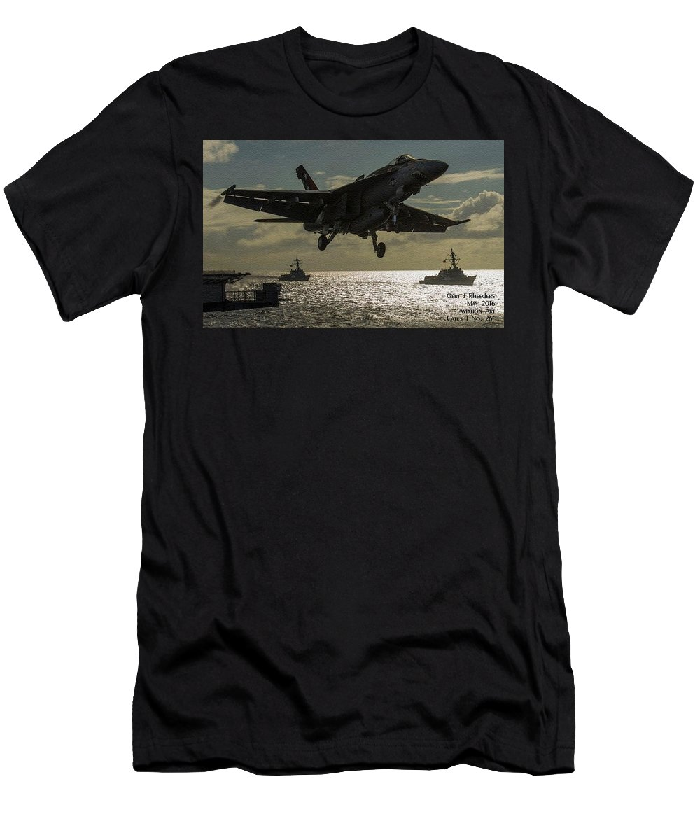 Aviation Art Men's T-Shirt (Athletic Fit) featuring the painting Aviation Art Catus 1 No. 26 L A by Gert J Rheeders