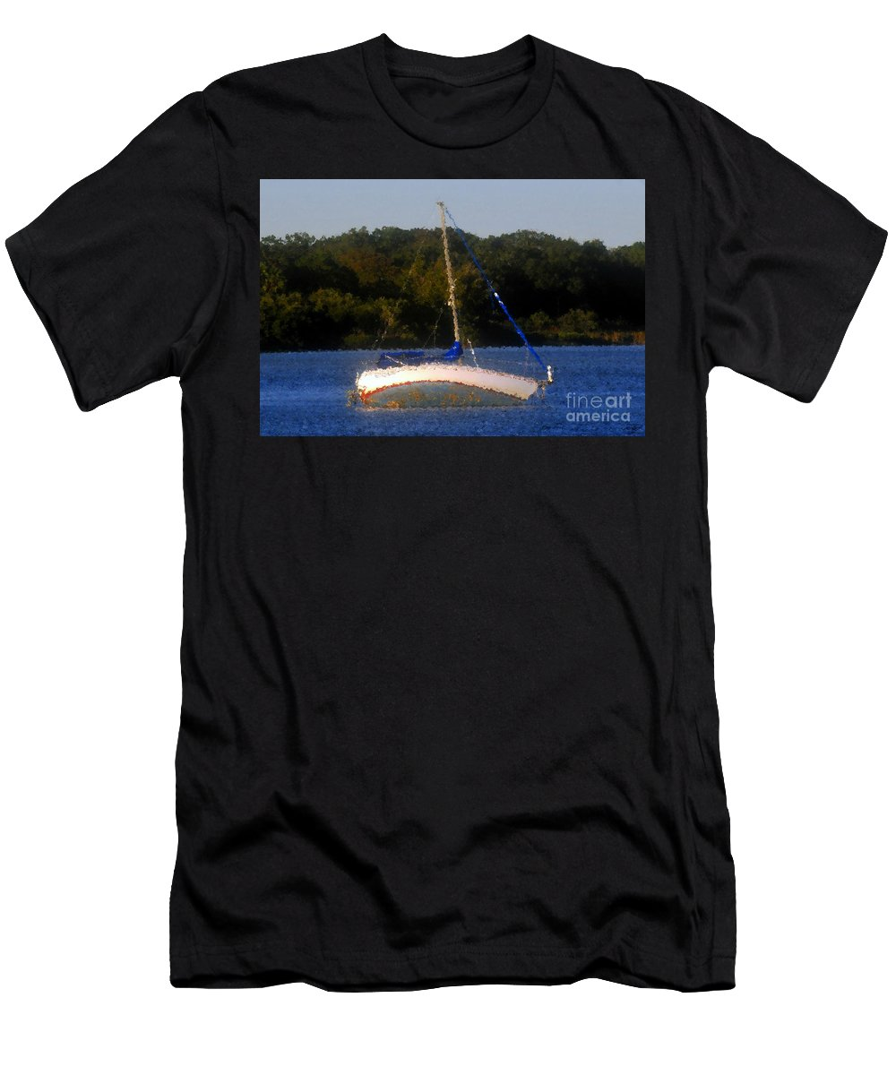 Boat Men's T-Shirt (Athletic Fit) featuring the painting Awaiting The Tide by David Lee Thompson