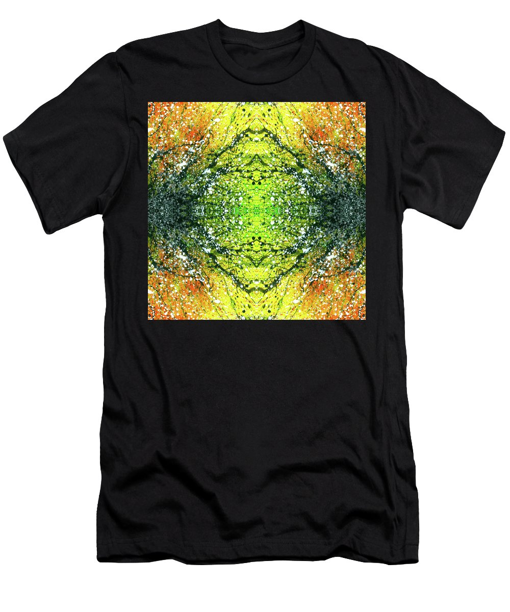 Abstract Men's T-Shirt (Athletic Fit) featuring the mixed media Awakened For Higher Perspective #1424 by Rainbow Artist Orlando L