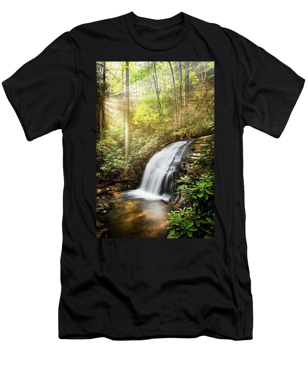 Appalachia Men's T-Shirt (Athletic Fit) featuring the photograph Awakening In The Forest by Debra and Dave Vanderlaan