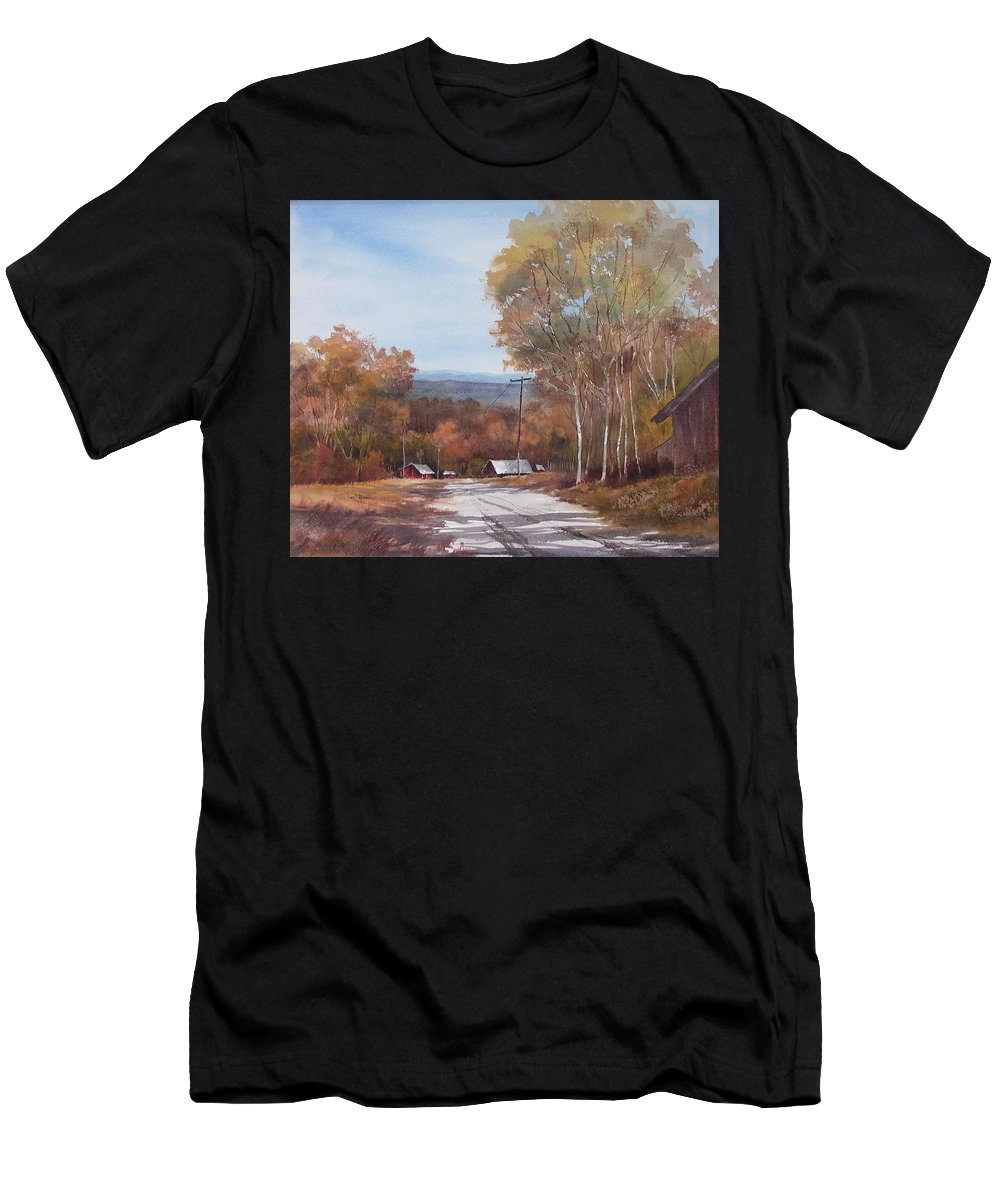 Landscape Men's T-Shirt (Athletic Fit) featuring the painting Awesome Autumn by Tina Bohlman