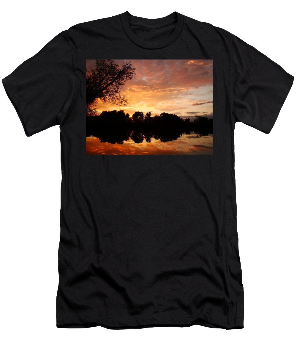 Sunset Men's T-Shirt (Athletic Fit) featuring the pyrography Awesome Sunset by J R Seymour