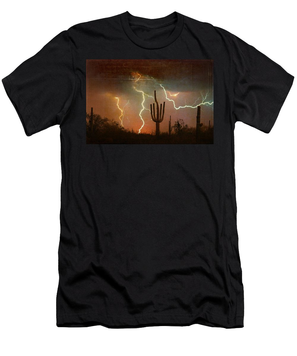 Arizona Men's T-Shirt (Athletic Fit) featuring the photograph Az Saguaro Lightning Storm by James BO Insogna