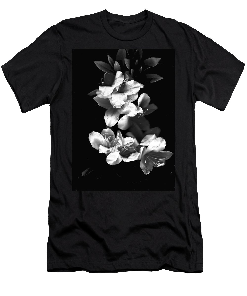 Azaela Men's T-Shirt (Athletic Fit) featuring the photograph Azaela Blossom In Black And White by Wayne Potrafka