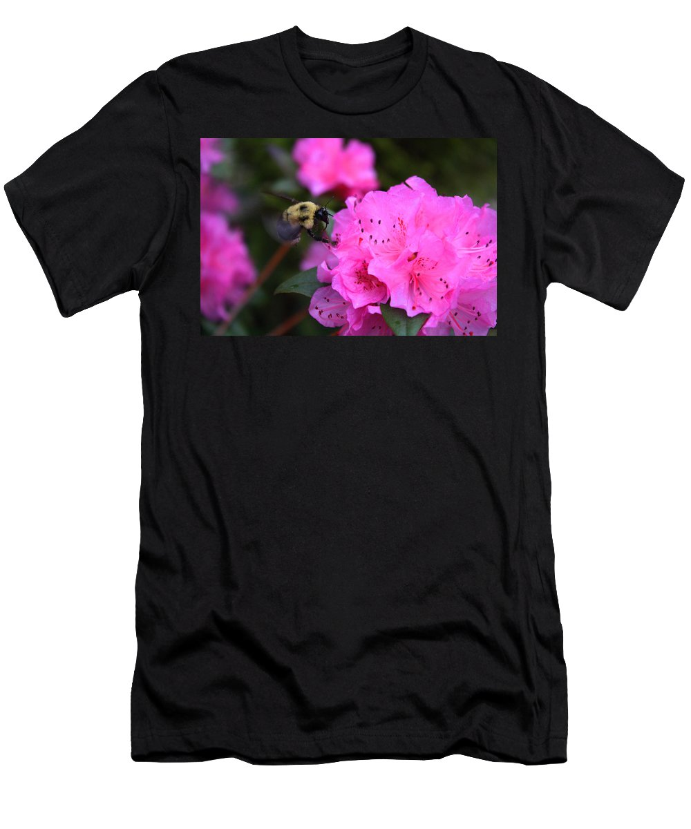 Azalea Men's T-Shirt (Athletic Fit) featuring the photograph Azalea And Mr. Bumbles 05 by Angela Huston
