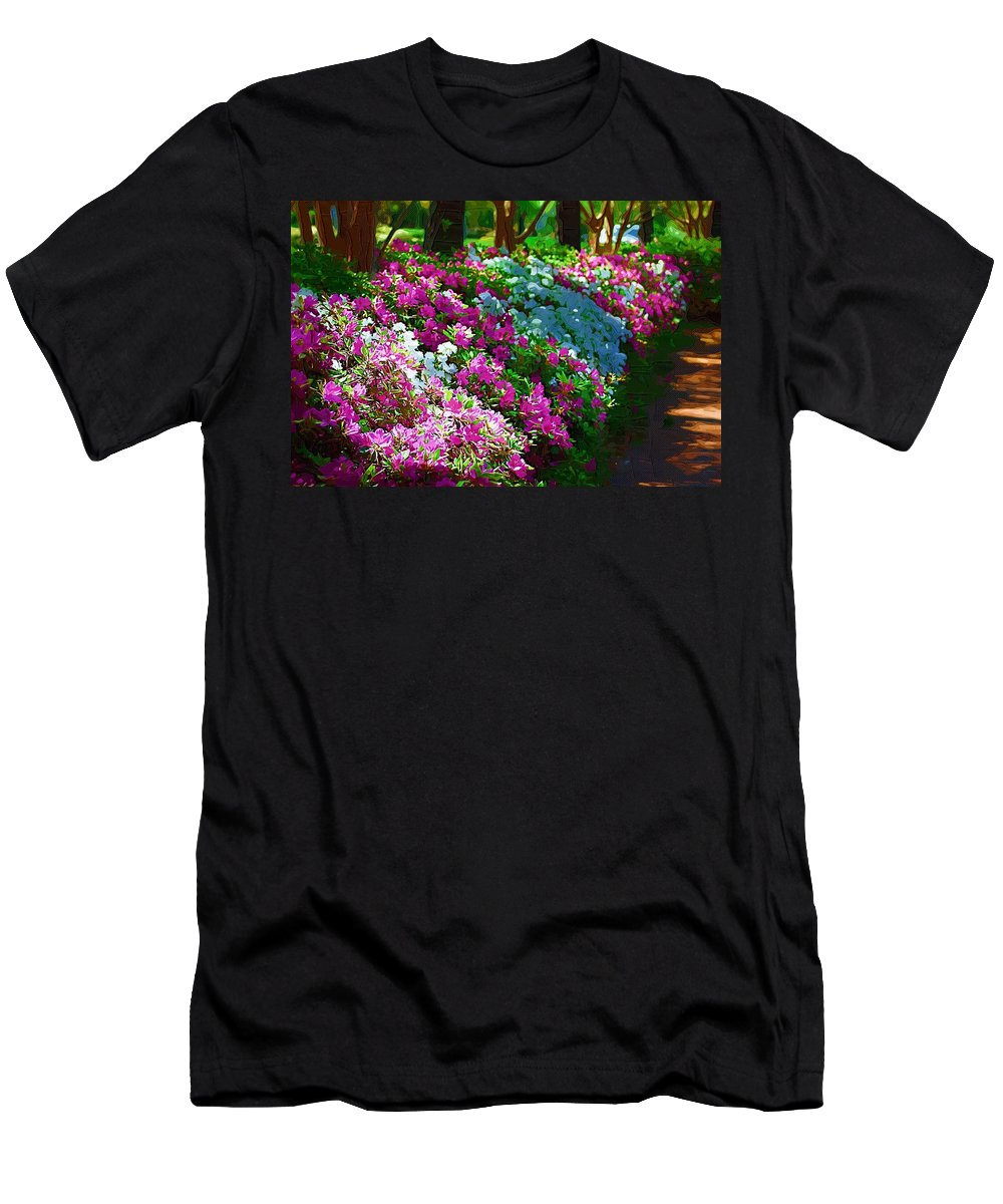 Landscape Men's T-Shirt (Athletic Fit) featuring the photograph Azalea Row by Donna Bentley
