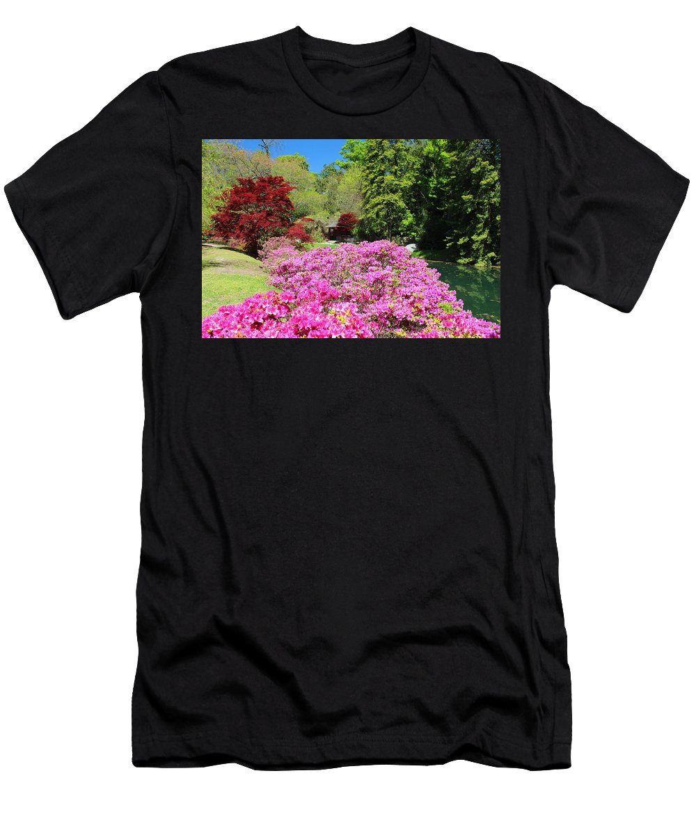 Azaleas Men's T-Shirt (Athletic Fit) featuring the photograph Azaleas In Bloom by Gordon Cain