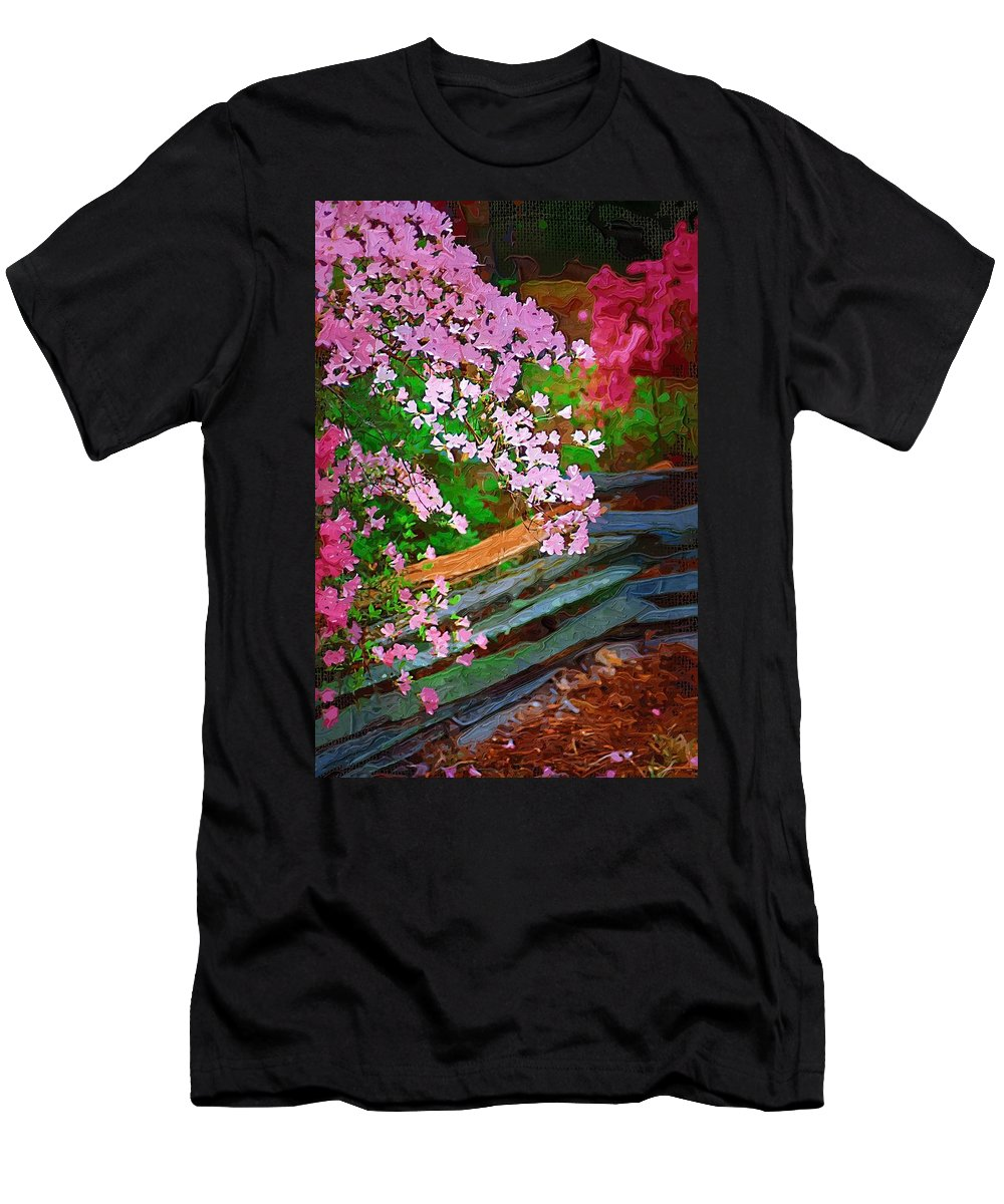 Flowers Men's T-Shirt (Athletic Fit) featuring the photograph Azaleas Over The Fence by Donna Bentley