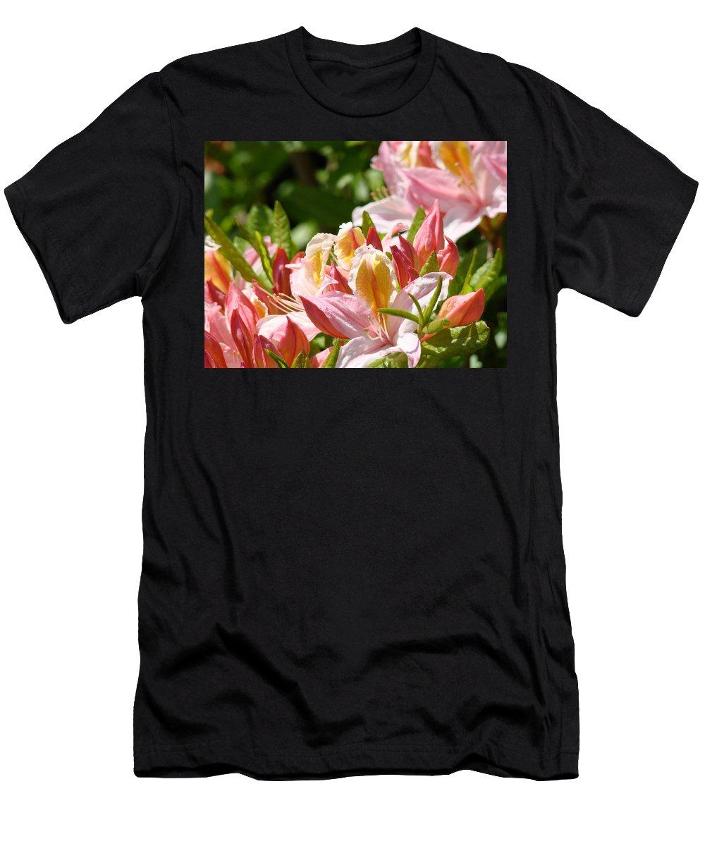 �azaleas Artwork� Men's T-Shirt (Athletic Fit) featuring the photograph Azaleas Pink Orange Yellow Azalea Flowers 6 Summer Flowers Art Prints Baslee Troutman by Baslee Troutman
